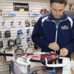 Restringing a tennis racquet at Taconic Sport and Racquet